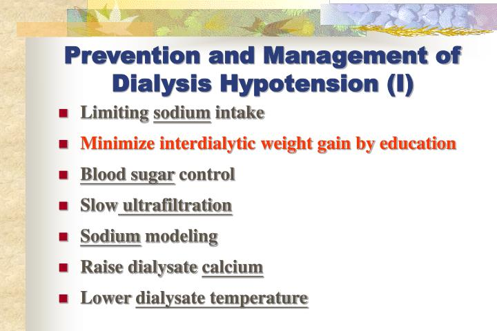 Prevention and Management of Dialysis Hypotension (I)