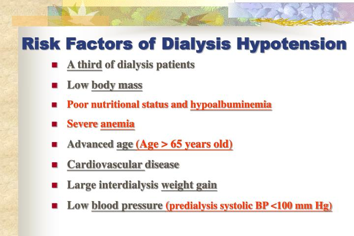 Risk Factors of Dialysis Hypotension
