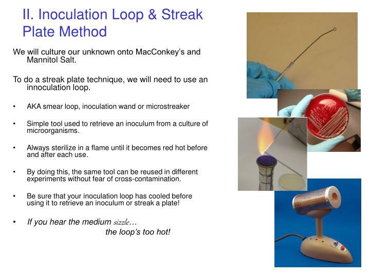II. Inoculation Loop & Streak Plate Method
