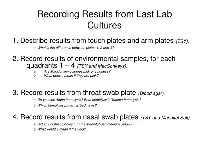 Recording Results from Last Lab