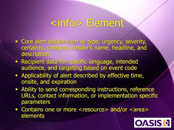 <info> Element