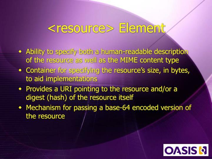 <resource> Element