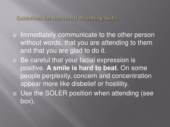 Guidelines for nonverbal attending skills1