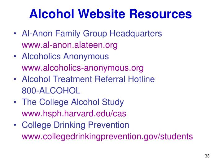 Alcohol Website Resources