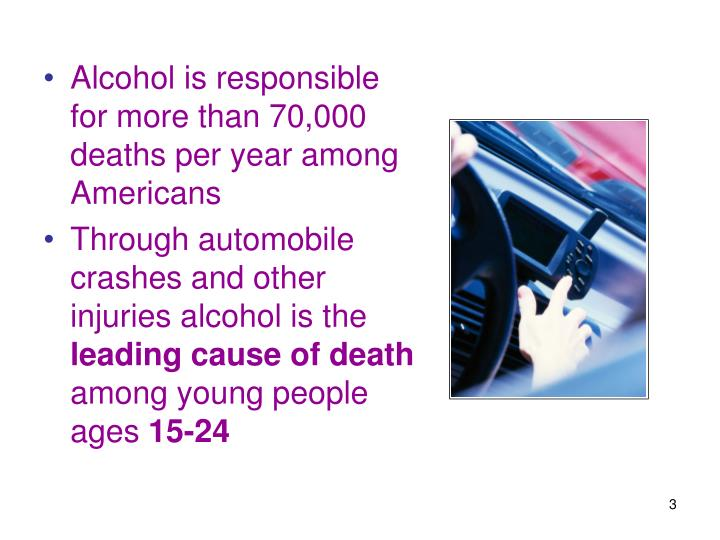 Alcohol is responsible for more than 70,000 deaths per year among Americans