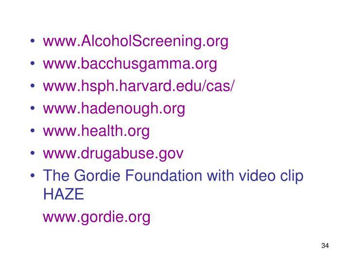 www.AlcoholScreening.org
