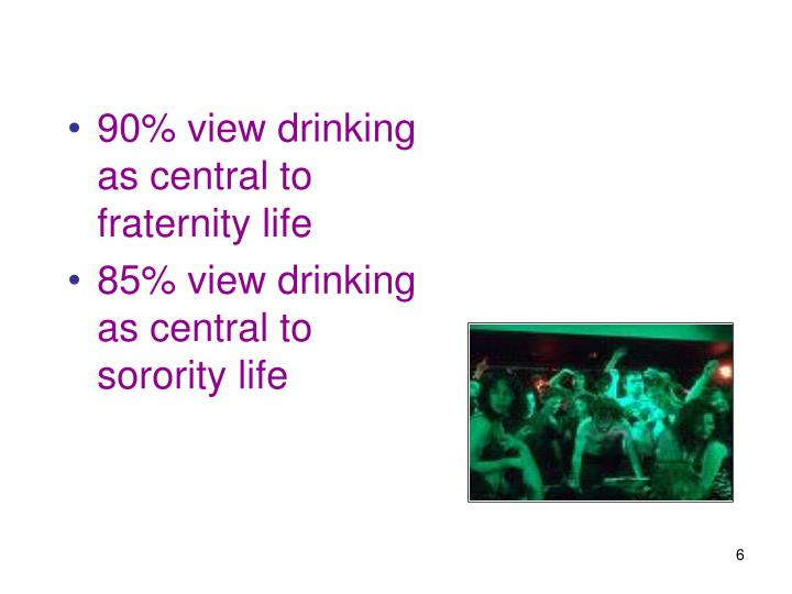 90% view drinking as central to fraternity life