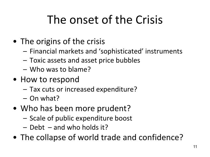 The onset of the Crisis