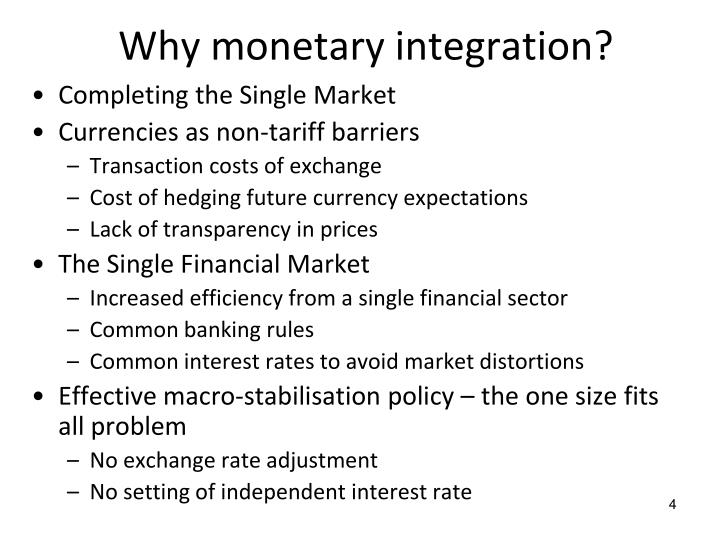Why monetary integration?