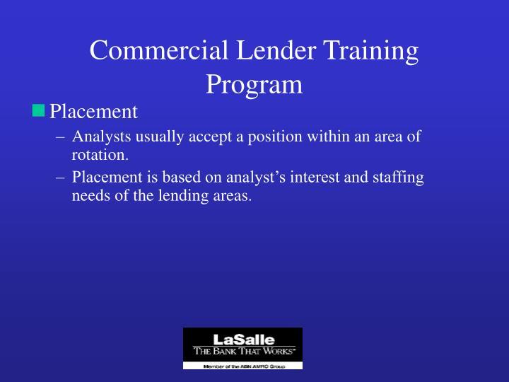 Commercial Lender Training Program