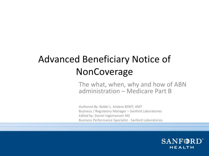 Advanced beneficiary notice of noncoverage