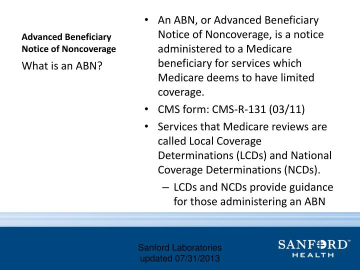 Advanced beneficiary notice of noncoverage1