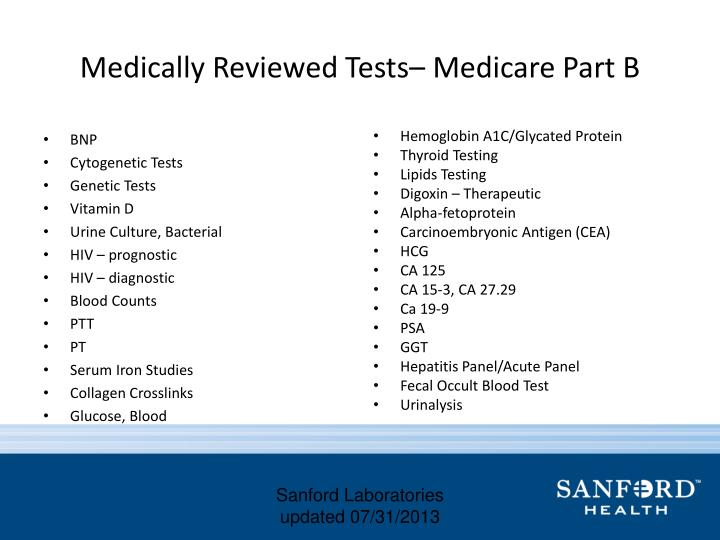 Medically Reviewed Tests– Medicare Part B