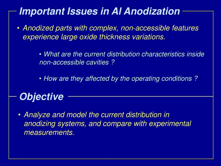 Important Issues in Al Anodization