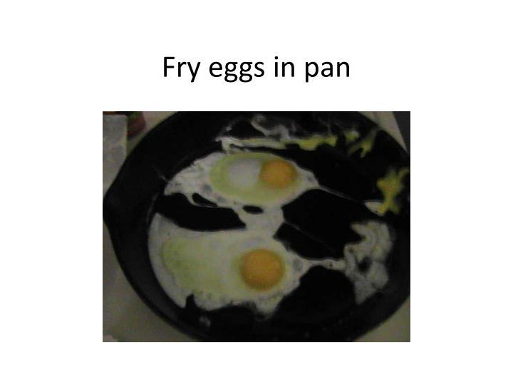 Fry eggs in pan