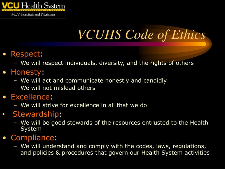VCUHS Code of Ethics