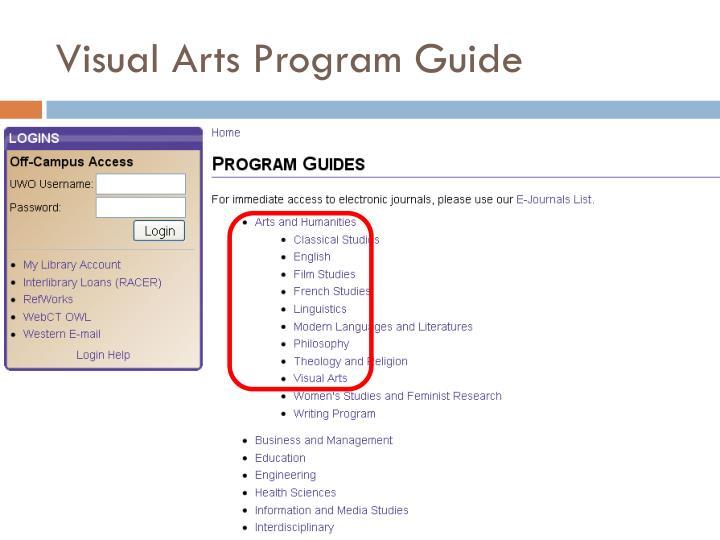 Visual Arts Program Guide