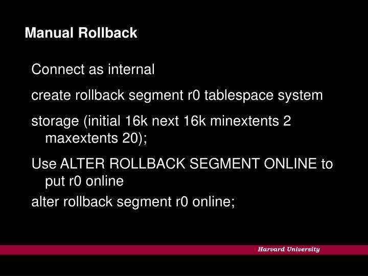 Manual Rollback