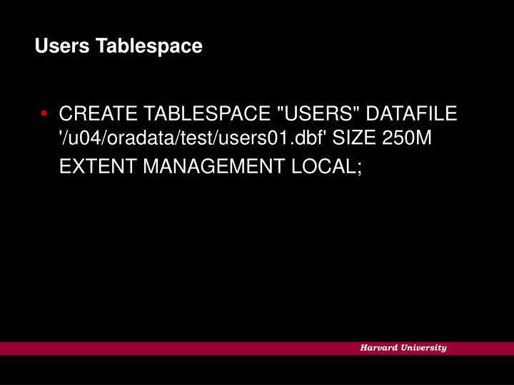 Users Tablespace