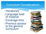 curriculum considerations