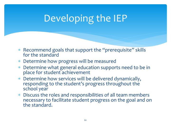 Developing the IEP
