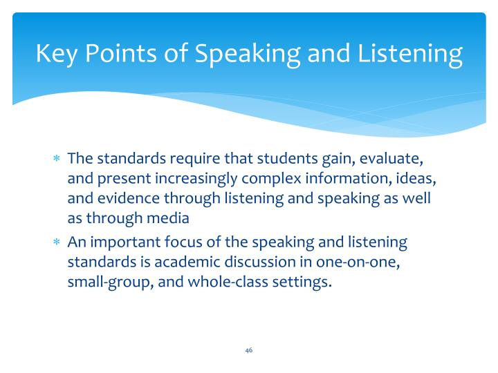 Key Points of Speaking and Listening