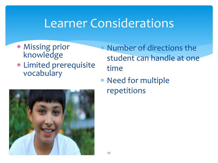 Learner Considerations