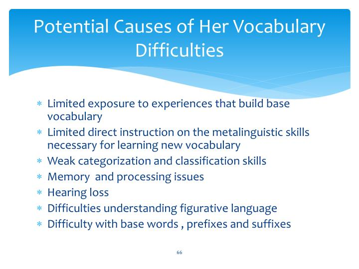 Potential Causes of Her Vocabulary Difficulties