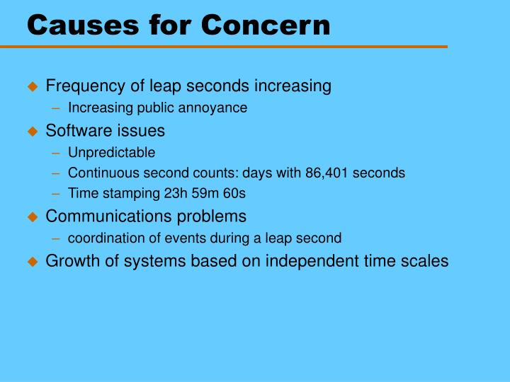 Causes for Concern