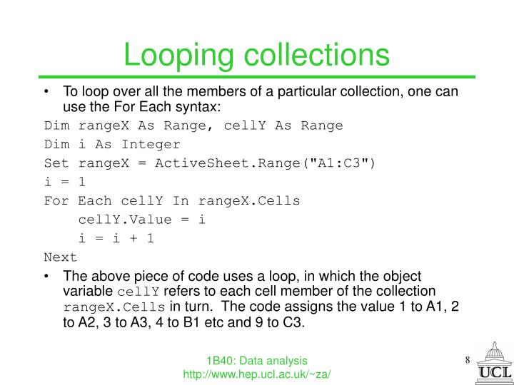 Looping collections