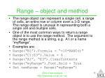 range object and method