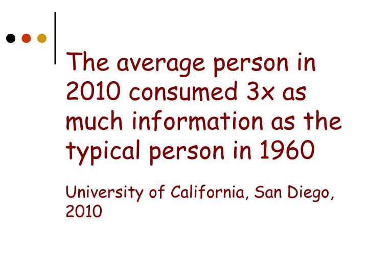 The average person in 2010 consumed 3x as much information as the typical person in 1960