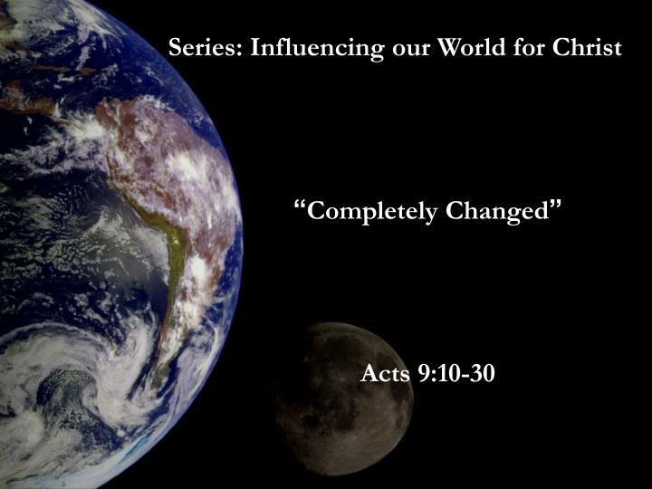 Series: Influencing our World for Christ