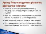 agency fleet management plan must address the following