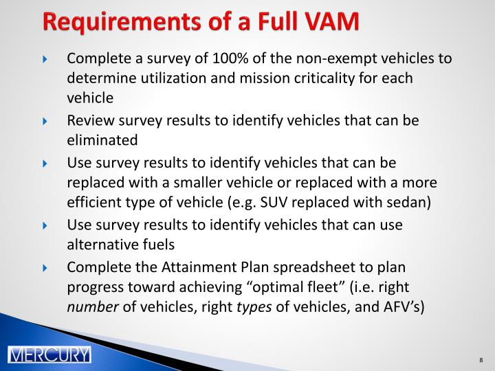 Requirements of a Full VAM