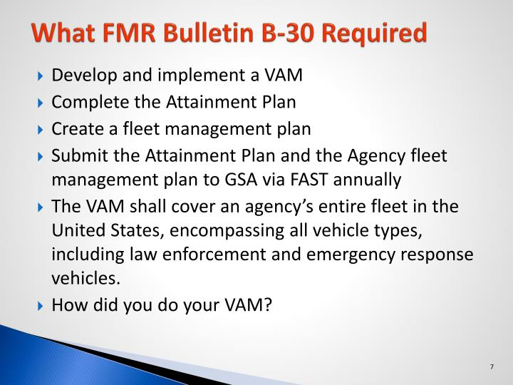 What FMR Bulletin B-30 Required