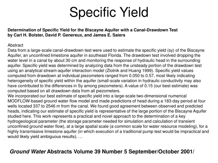 Specific Yield