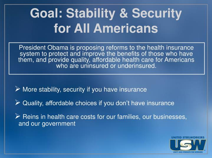 Goal stability security for all americans