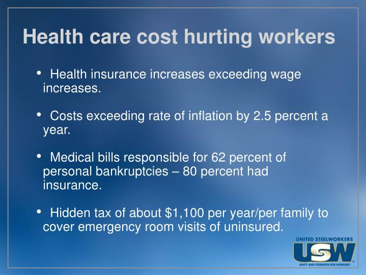 Health care cost hurting workers