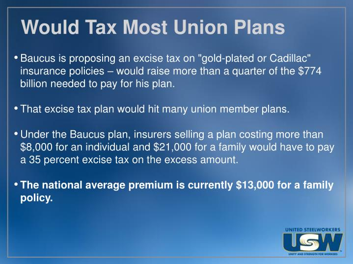 Would Tax Most Union Plans