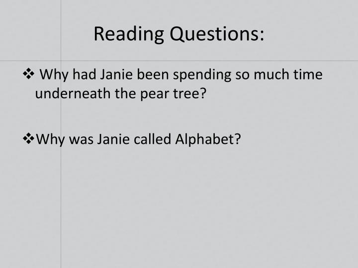 Reading Questions: