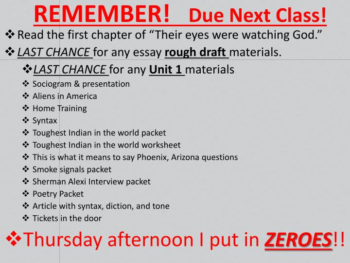 Remember due next class