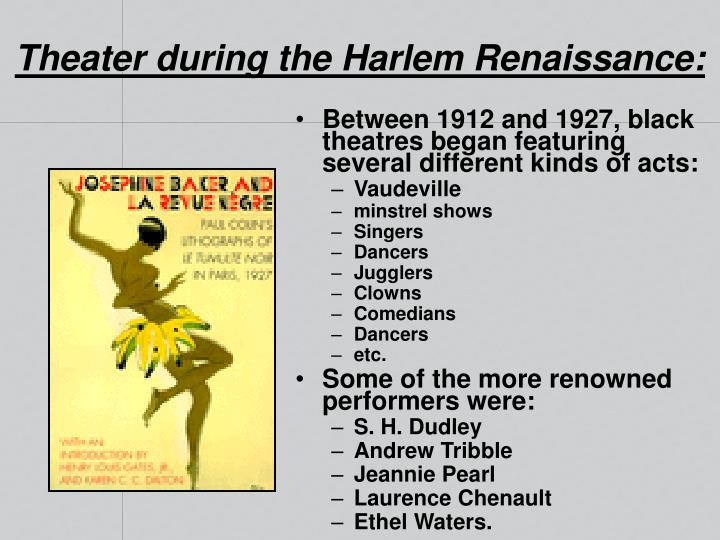 Theater during the Harlem Renaissance: