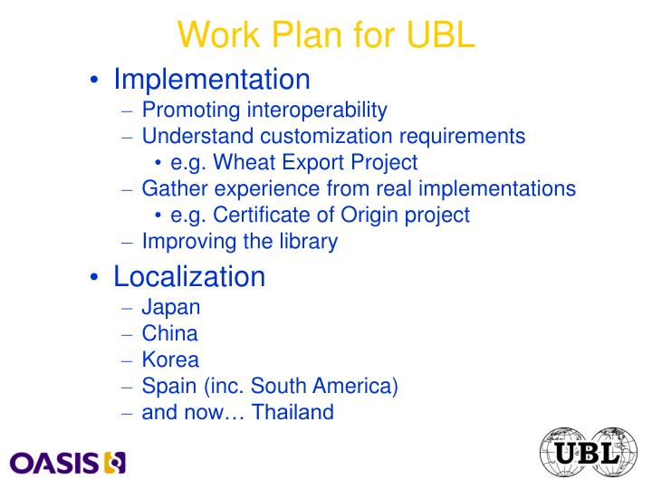 Work Plan for UBL