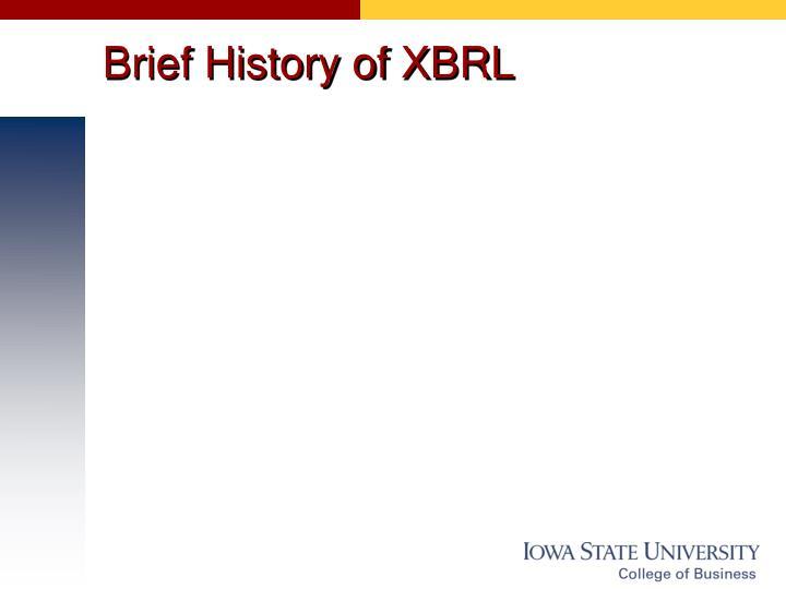 Brief History of XBRL