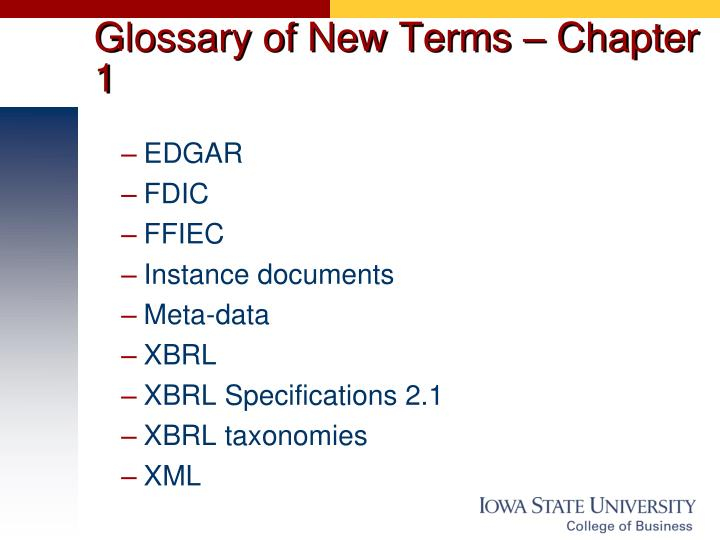 Glossary of New Terms – Chapter 1