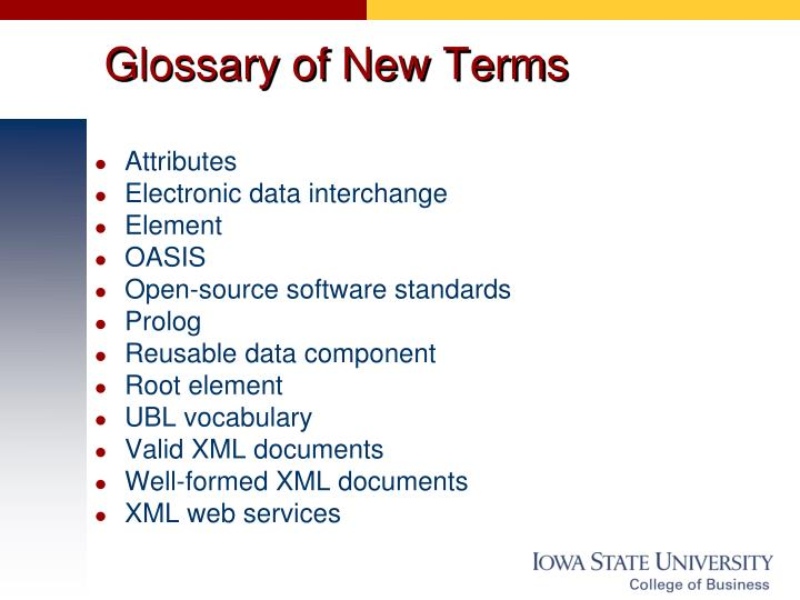 Glossary of New Terms