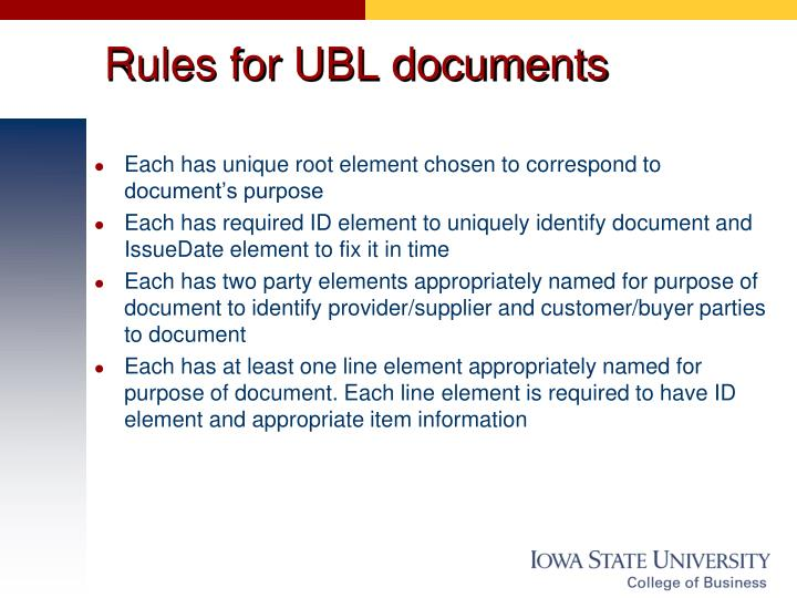Rules for UBL documents