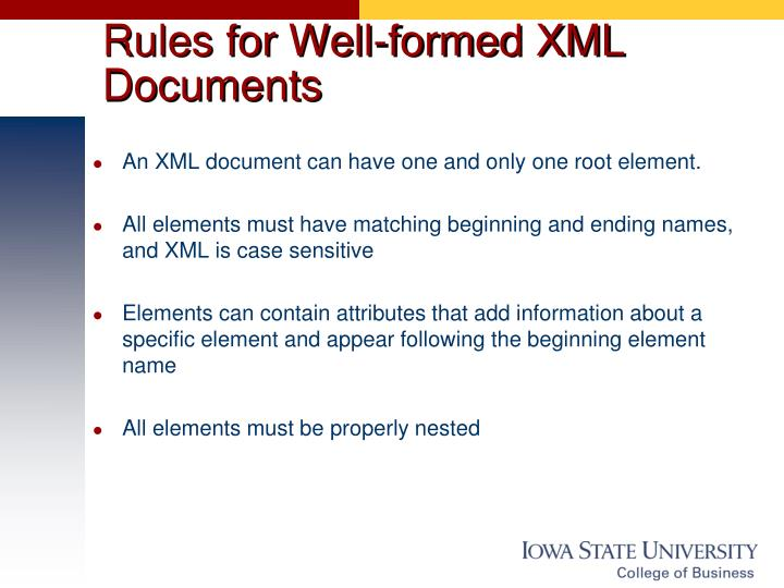 Rules for Well-formed XML Documents