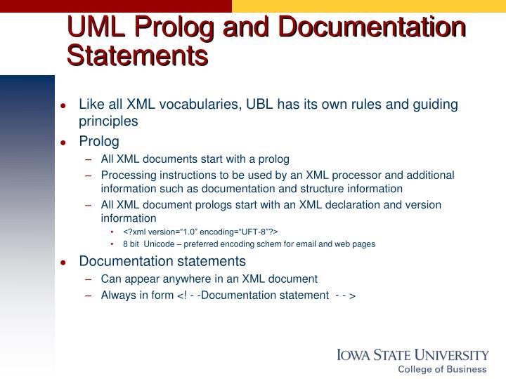 UML Prolog and Documentation Statements